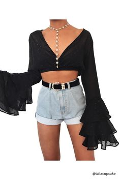 Product Name:Sheer Bell-Sleeve Crop Top, Category:CLEARANCE_ZERO, Price:19.9