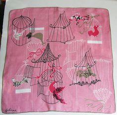 Vintage Pat Prichard Pink Birds in Cages Hankie by murdups on Etsy