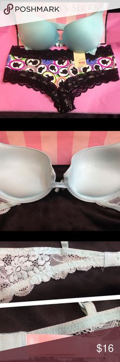 """Victoria Secret Dream Angels Push bra & panty 32B Top of the line padded push up by Victoria Secret from their Dream Angels line! This is a size 32B and is super soft and comfortable! This bra has nice padded push cushions to give the girls an extra little lift! Very flattering to the bustline. It features fully adjustable straps with, """"Angels"""" embroidered on them. I am including  the NWT checkster panties in a size small!  I have 2 more VS bras in this size! I'm a fast shipper!!💃🏼💃🏼 🚫…"""