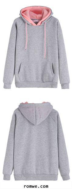 Grey Raglan Sleeve Drawstring Hooded Sweatshirt