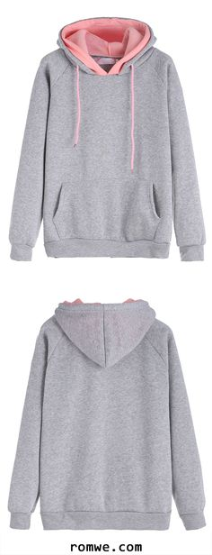 Grey Raglan Sleeve Drawstring Hooded Sweatshirt Cute Shirts 5edf78970