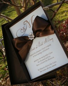 Wedding Invitation - Boxed Letterpress with Crystal Brooch & Satin Ribbon - SAMPLE Staccato Signature Collection. $15.00, via Etsy.