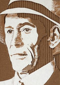 "ACTORS IN ART: ""Peter O'Toole"" -- by Giles Oldershaw; a cardboard relief portraits created by carefully removing layers of corrugated cardboard. Cardboard Sculpture, Cardboard Art, Cardboard Boxes, Cardboard Packaging, Cardboard Relief, Inspiration Art, Ap Art, Art Graphique, Recycled Art"