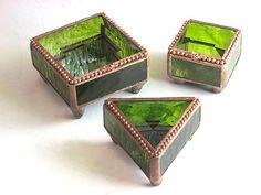 gemstone boxes   Pesto Green Gem-toned Boxes