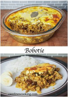 bobotie - often considered the national dish of South Africa, it's a delicious combination of ground meat, fruit and spices. Moist, mildly curry flavored and with a slight sweetness. Such a tasty recipe! Can be made ahead and frozen too. Minced Beef Recipes, Mince Recipes, South African Dishes, South African Recipes, No Salt Recipes, Dutch Recipes, Fun Recipes, Recipies, Recipes