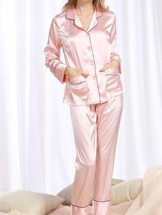 #SheIn - #SheIn Satin Contrast Binding Shirt & Pants Pj Set - AdoreWe.com