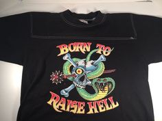 "King Diamond Fan Made Black 1989 ""Born to Rise Hell"" Short Sleeve T Shirt Sz L 