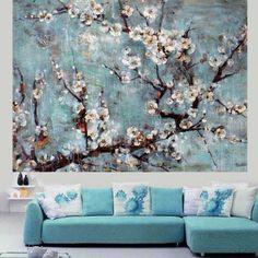 手塗り現代美しい花抽象風景油絵用の キャンバス壁アート家の装飾壁絵(China (Mainland))
