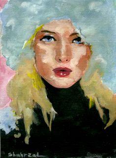 Russian girl , Watercolor by Shahrzad Ranji