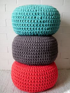 Hand knit pouf super chunky jersey yarn in 3 by marymarieknits | puf ...