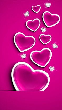 Pink Hearts And Diamonds Wallpaper
