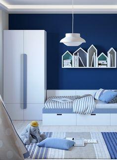 Kinderzimmer Jungen Kindertapete Gestaltung Blau Weiss Teppich Room