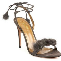 Aquazzura Wild Russian Suede & Mink Fur Ankle-Tie Sandals (17,230 MXN) ❤ liked on Polyvore featuring shoes, sandals, apparel & accessories, grey, grey sandals, ankle strap shoes, gray sandals, ankle wrap sandals and wrap around sandals