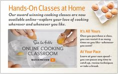 Hands-on classes at home. Our award winning cooking classes are now available…
