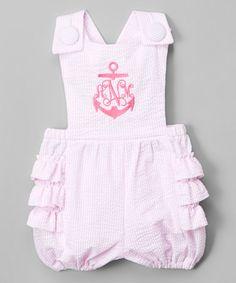 Loving this Pink Ruffle Monogram Seersucker Romper - Infant on #zulily! #zulilyfinds