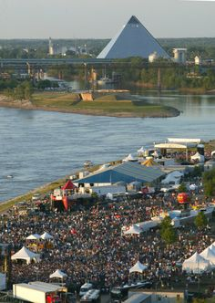 Memphis in May BBQ Fest situated in Tom Lee Park on the Mississippi river bank west of Riverside Drive.