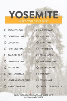 bucket list usa Yosemite Winter Hikes and Summer Hikes to Add to Your Bucket List // Local Adventurer Miss California, California Travel, Us National Parks, Yosemite National Park, Travel Guides, Travel Tips, Budget Travel, Travel Packing, New Orleans
