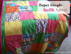 Mostly Homemade Mom - Show super simple quilt Beginner Quilt Patterns, Quilting Tutorials, Quilting Projects, Quilting Designs, Diy Quilting, Block Patterns, Quilting Patterns, Quilting Ideas, Sewing Patterns