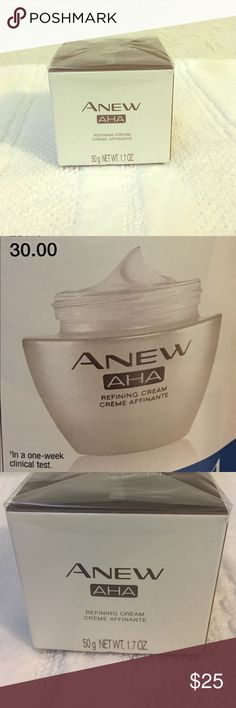 Anew AHA Refining cream 91% of women tested showed improvement in general overall skin aging. Use as a moisturizer, after cleanser and treatment Avon Makeup