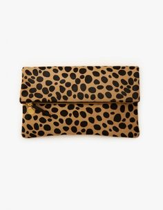 Canvas Fold Over Clutch - Leopard