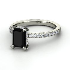 Reese Ring, Emerald-Cut Black Onyx White Gold Ring with Diamond from Gemvara