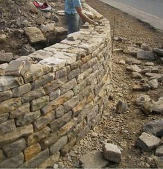 Dry stone walling contractors from Huddersfield West Yorkshire Garden Retaining Wall, Stone Retaining Wall, Landscaping Retaining Walls, Stone Fence, Sloped Garden, Backyard Landscaping, Dry Stack Stone, Dry Stone, Brick And Stone