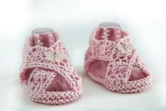 Knitting pattern for Lace Sandal Booties (Etsy affiliate link)
