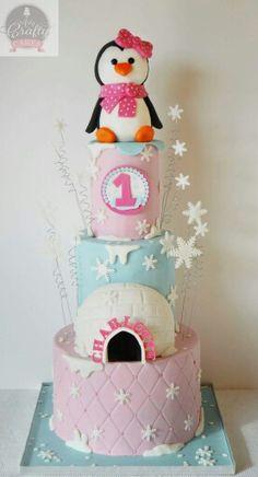 Cute penguin cake