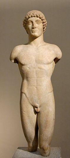 "Kouros, so-called ""Strangford Apollo"". Marble, ca. 510-500 BC. From the island of Anaphe (?)."
