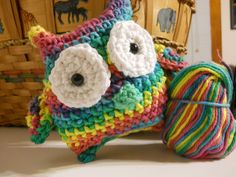 Owl amigurumi from rainbow yarn (inspiration only, no pattern)