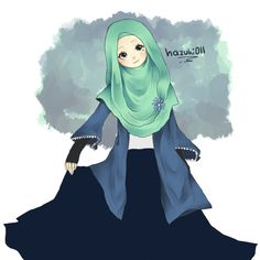 a random illustration that I altered by putting on hijab and a pair of pants. Not sure what anime or game it's based on~
