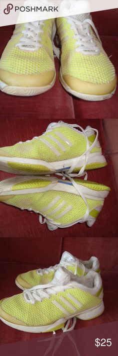 Adidas Stella McCartney Yellow Tennis Shoes, 8 Adidas Stella McCartney Tennis Shoes in Yellow and White. Lightweight, fluorescent back stripe, water resistant covering, plastic rubber smooth soles designed for gravel or sturdy ground. Adidas by Stella McCartney Shoes Athletic Shoes