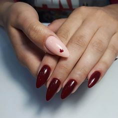 Cute nails 2018, Heart nail designs, Hearts on nails, Ideas of colorful nails, Maroon nails with a picture, Nails ideas 2019, Nails trends 2020, September nails