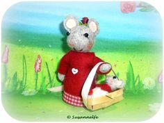 Maus mit Baby Filztiere Jahreszeitentisch von Susannelfes Blumenkinder  auf DaWanda.com
