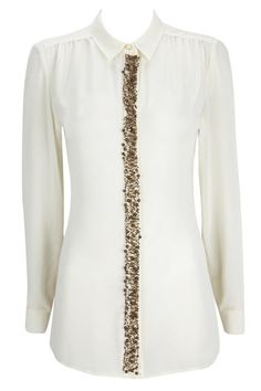 Cream Embellished Shirt - classic styling with a modern twist for great nights out Great Night, Night Out, Fashion Dresses, Trousers, Cream, Clothes For Women, Blouse, Womens Fashion, Classic