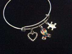 Autism Silver Puzzle Piece Awareness Ribbon Expandable Charm Bracelet