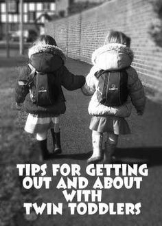 Don't stay stuck at home. Try these tips for getting out and about with toddler twins. #twintoddlers #parentingtwins #multiples