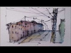 A pen and wash demonstration with Soluble Ink and Watercolour. Street Scene. Peter Sheeler - YouTube