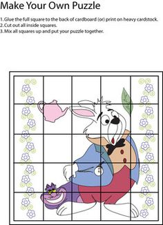 Puzzle 2 Alice, Alice In Wonderland, Games - Free Printable Ideas from Family Shoppingbag.com