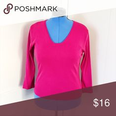 Ann Taylor Magenta 3/4 length knit shirt L Beautiful high quality Magenta Ann Taylor 3/4 length shirt. Perfect for wearing to work and comfortable enough to wear on your days off as well. Stretchy but cut a bit short, so could likely fit a medium to a large. EUC. Tops