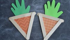 Popsicle Stick Handprint Carrots - Kid Craft For Easter Spring Crafts For Kids, Crafts For Kids To Make, Crafts For Girls, Easter Crafts For Kids, Summer Crafts, Holiday Crafts, Popsicle Crafts, Glue Crafts, Mothers Day Crafts