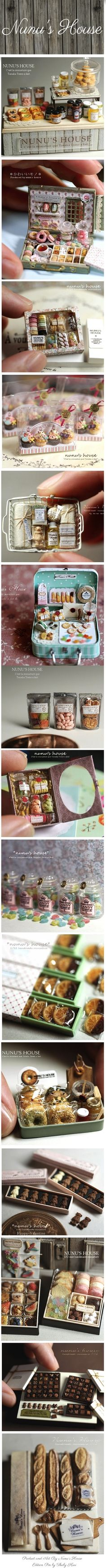 Miniature Packaging - By Nunu's House Miniature Houses, Miniature Food, Miniature Dolls, Polymer Clay Miniatures, Dollhouse Miniatures, Crea Fimo, Tiny World, Mini Things, Clay Charms