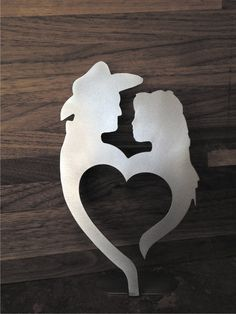 Western couple cake topper in natural steel. by bluemountaincrafts, $15.00
