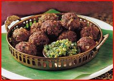 Savory and spicy cocktail kabobs are Indian meatballs at their finest. Serve them up as the perfect bite-sized appetizer or snack! Goat Recipes, Kabob Recipes, Indian Food Recipes, Healthy Recipes, Ethnic Recipes, Halal Recipes, Goat Meat, Tomato Chutney, Spicy