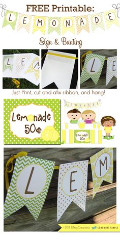 FREE PRINTABLE Lemonade Stand Banner and Sign by BitsyCreations on SomewhatSimple.com