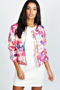 Carrie Quilted Floral Bomber
