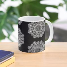 """"""" White Mandala Pattern - Just Let Go"""" Mug by klyngiant   Redbubble Mandala Pattern, Mandala Art, Letting Go, Finding Yourself, Let It Be, Mugs, Create, Tableware, Artist"""
