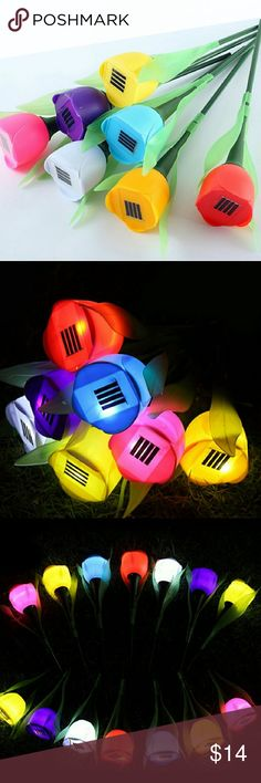 Solar energy flower Product Name Solar energy lamp outdoor led lights home garden landscape lights The tulip flower lamp Specifics Power Source	Solar Features	waterproof Body Material	PVC Solar Cell Type	Ni-MH Light Source	LED Bulbs Style	Novelty Base Type	Wedge Voltage	6V Protection Level	IP54 Wattage	5W Accessories