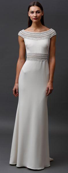 Badgley Mischka Pre-Fall 2015 | white sheath dress with embellishment