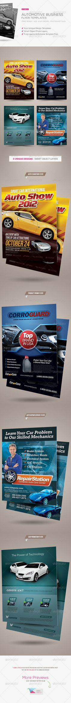 Premium Automotive Business Flyers #GraphicRiver Premium Automotive Business Flyers Another premium flyers designed for automotive industry. You will get four unique flyers for different purpose, i.e. new car promotion flyer, car exhibition or auto show flyer, auto supported product flyer and car repair service flyer. These flyer designs can also be used as a poster or magazine advert. Features: - Size: 8.5×11 inches - Bleed area: 0.25 inches - Color: CMYK / 300 dpi - Four Photoshop .psd…